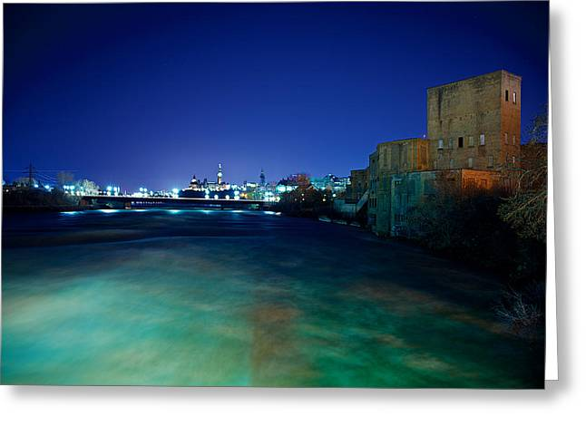 Night Cityscape Greeting Card by Andre Faubert