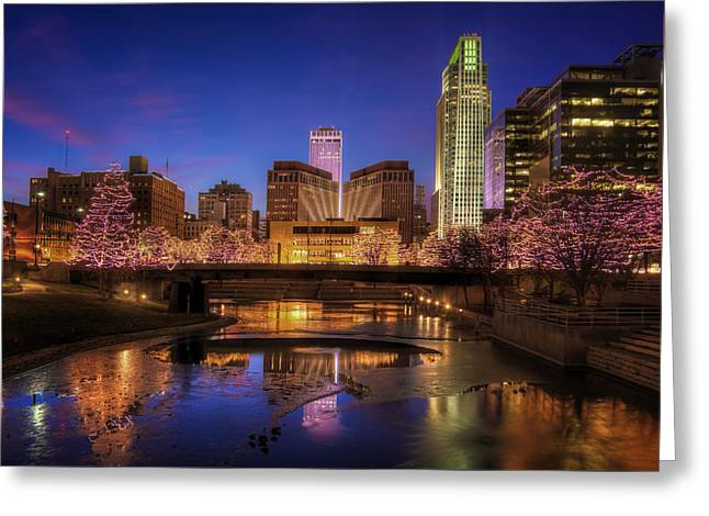 Omaha Greeting Cards - Night Cityscape - Omaha - Nebraska Greeting Card by Nikolyn McDonald