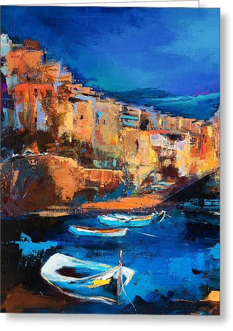 Village By The Sea Greeting Cards - Night Colors Over Riomaggiore - Cinque Terre Greeting Card by Elise Palmigiani