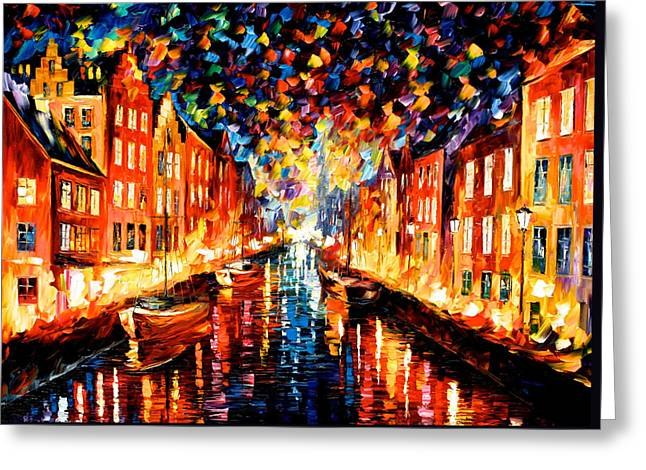 Recently Sold -  - Christmas Art Greeting Cards - Night Copenhagen - PALETTE KNIFE Oil Painting On Canvas By Leonid Afremov Greeting Card by Leonid Afremov