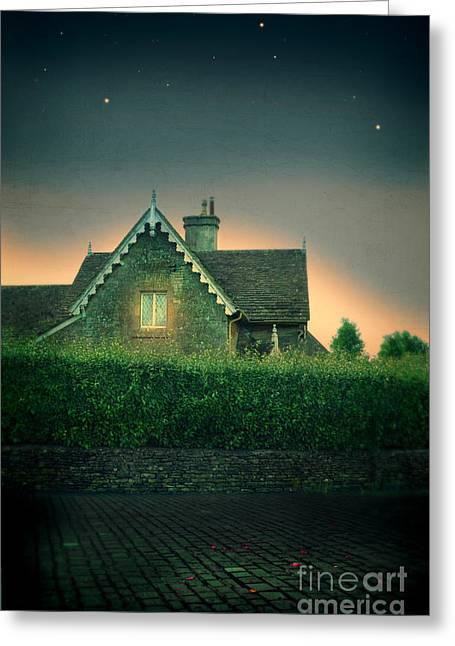 Night Cottage Greeting Card by Jill Battaglia