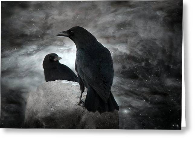 Two Crows Greeting Cards - Night Crows Greeting Card by Gothicolors Donna Snyder