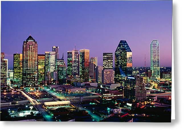 Corporate Business Greeting Cards - Night, Dallas, Texas, Usa Greeting Card by Panoramic Images
