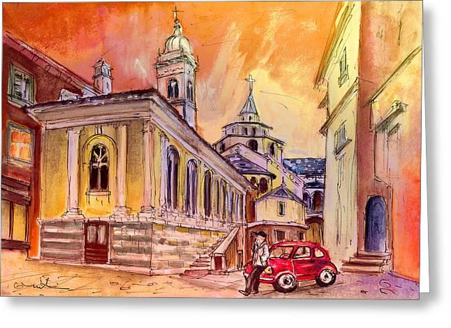 Night Date In Bergamo Greeting Card by Miki De Goodaboom