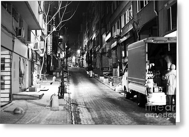 Night Shot Greeting Cards - Night Delivery in Istanbul Greeting Card by John Rizzuto