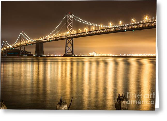 Exposure Greeting Cards - Night Descending On The Bay Bridge Greeting Card by Suzanne Luft