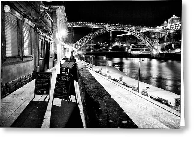 Night Cafe Greeting Cards - Night Dining in Porto Greeting Card by John Rizzuto