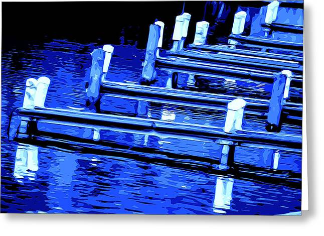 Wooden Platform Greeting Cards - Night Docks Greeting Card by Brian Stevens