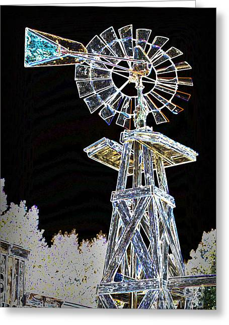 Forgotten Mixed Media Greeting Cards - Night Drawing Windmill Antique in Color 3005.04 Greeting Card by M K  Miller