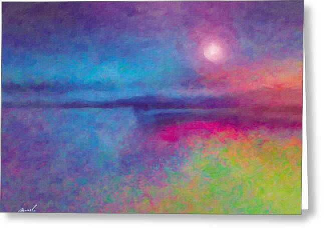 Mystical Landscape Mixed Media Greeting Cards - Night Dream Greeting Card by The Art of Marsha Charlebois