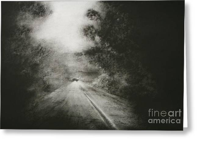 Headlight Drawings Greeting Cards - Night Driving on the Bells Line of Road Greeting Card by Sandra D Wilson