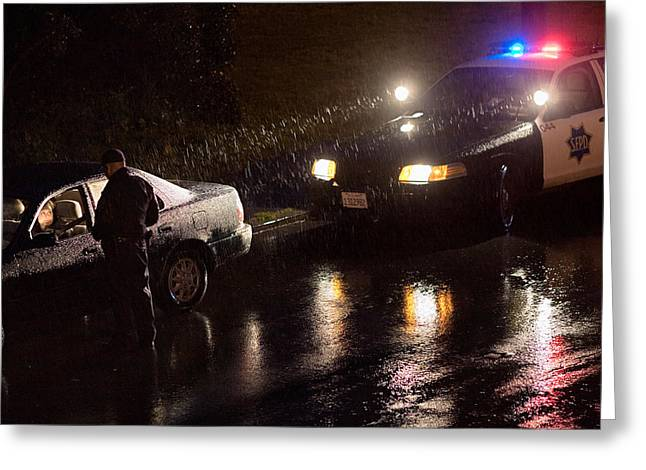 Police Stop Greeting Cards - Night Duty Greeting Card by Daniel Furon