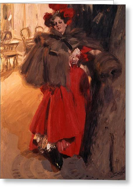 Evening Dress Digital Art Greeting Cards - Night Effect Greeting Card by Anders Zorn