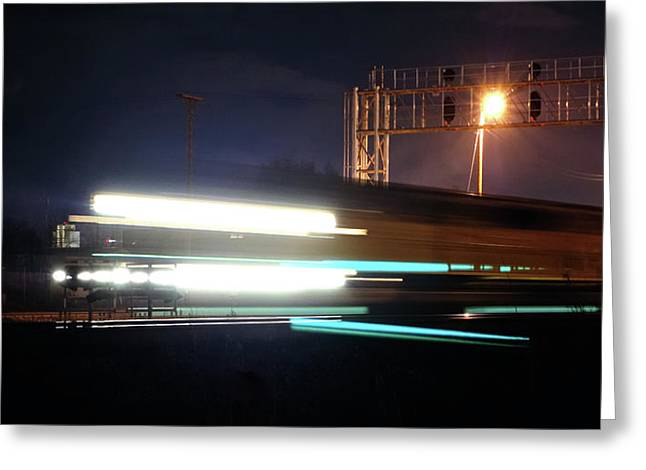 Express Greeting Cards - Night Express - Union Pacific Engine Greeting Card by Steven Milner