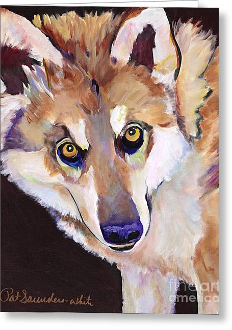Gallery Wrap Paintings Greeting Cards - Night Eyes Greeting Card by Pat Saunders-White