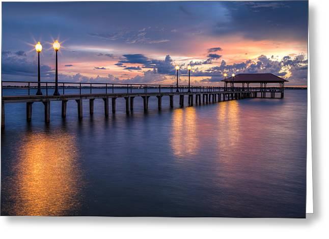 Tropical Beach Greeting Cards - Night Fall at Sebring Greeting Card by Debra and Dave Vanderlaan