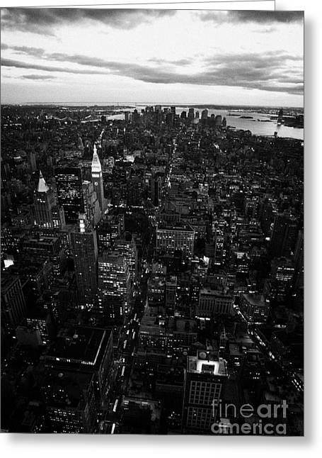 Manhatan Greeting Cards - Night Falling Over Lower Manhattan New York City Greeting Card by Joe Fox