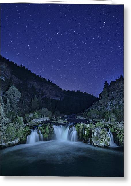 Deschutes River Greeting Cards - Night Falls Greeting Card by Christian Heeb