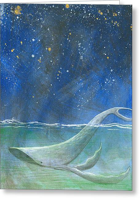 Night Falls - Humpback Whale Greeting Card by Aprille Lipton