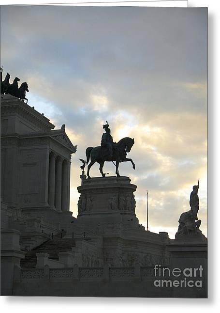 Night Falls On Rome's Monuments Greeting Card by Brenda Kean