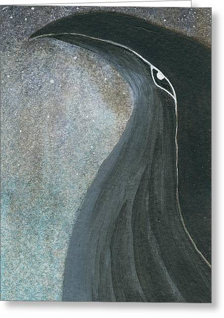 Night Falls - Raven Greeting Card by Aprille Lipton