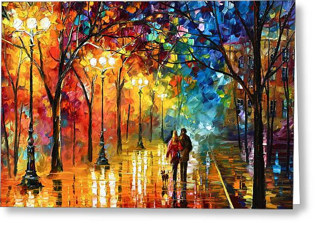 Park Lights Greeting Cards - Night Fantasy Greeting Card by Leonid Afremov