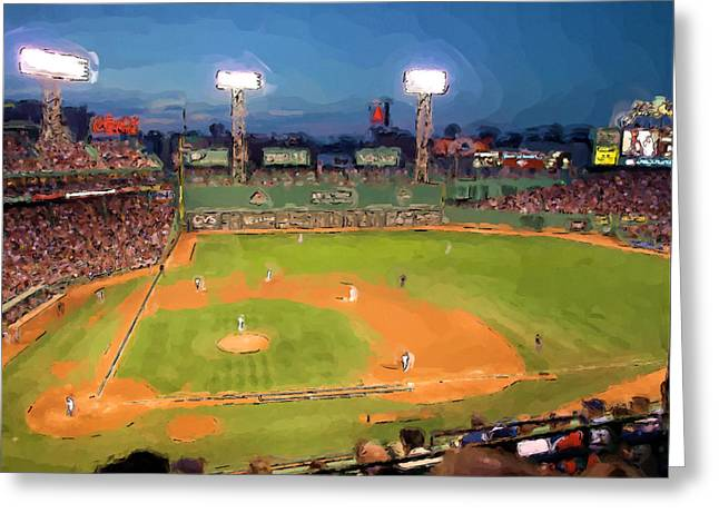 Boston Red Sox Paintings Greeting Cards - Night Fenway Pop Greeting Card by John Farr