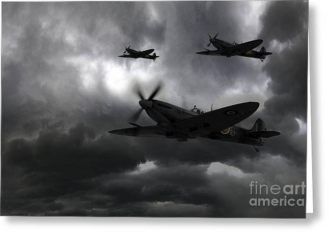 Spitfire Greeting Cards - Night Fighters Greeting Card by J Biggadike