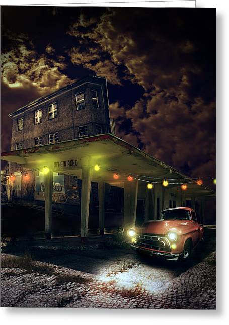 Haunted House Digital Art Greeting Cards - Night fill Greeting Card by Nathan Wright