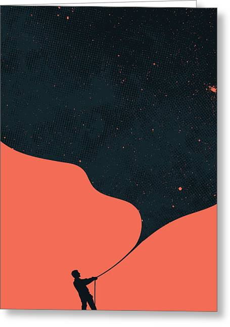 Star Greeting Cards - Night fills up the sky Greeting Card by Budi Kwan