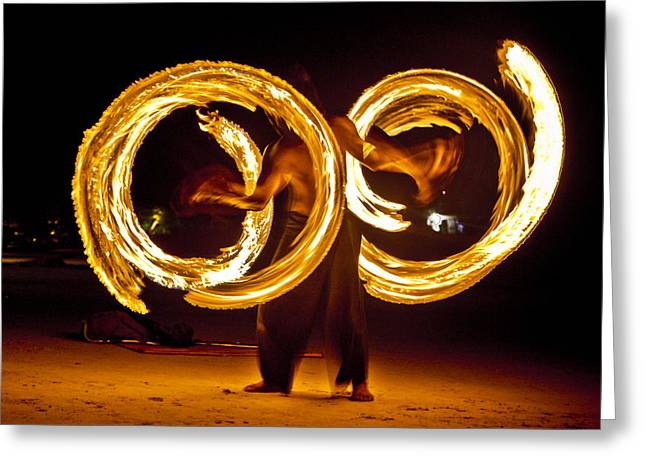 Horizontal Greeting Cards - Night Fire Dancer Greeting Card by Steve Smith