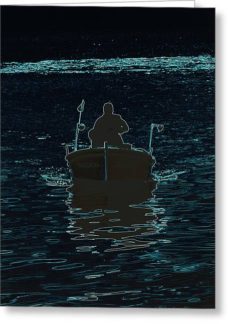 Modern Photographs Greeting Cards - Night Fisher on the Boat Greeting Card by Kazim Calisir
