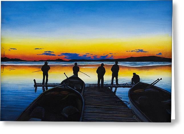Dore Paintings Greeting Cards - Night Fishing Greeting Card by Aaron Spong