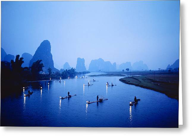 Night Fishing Guilin China Greeting Card by Panoramic Images