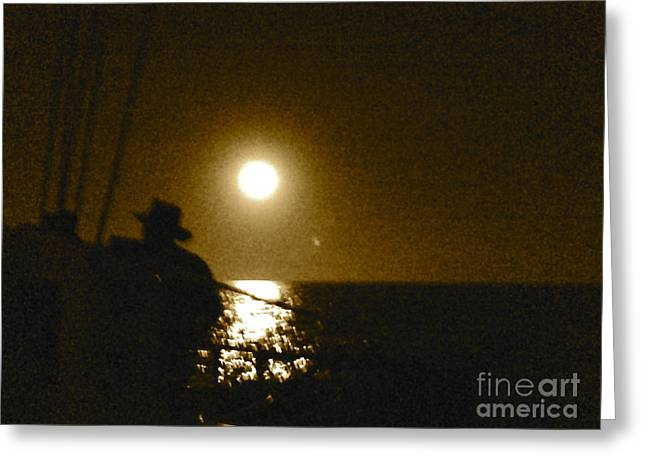 Sea Moon Full Moon Greeting Cards - Night Fishing in Cabo Greeting Card by Christy Gendalia