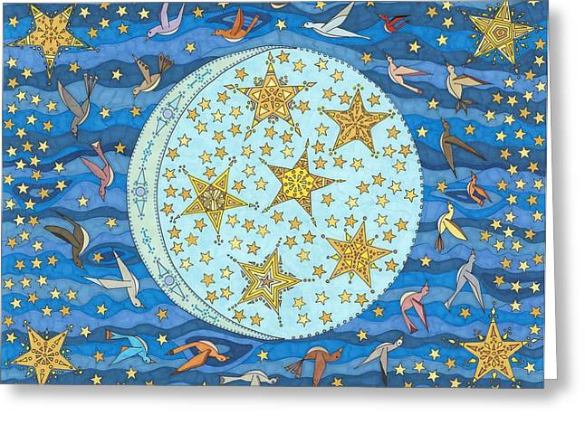 Moonlit Night Drawings Greeting Cards - Night Flight Greeting Card by Pamela Schiermeyer