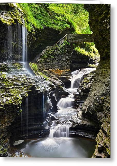 New York Vista Greeting Cards - Rainbow Falls Watkins Glen New York Greeting Card by Frozen in Time Fine Art Photography