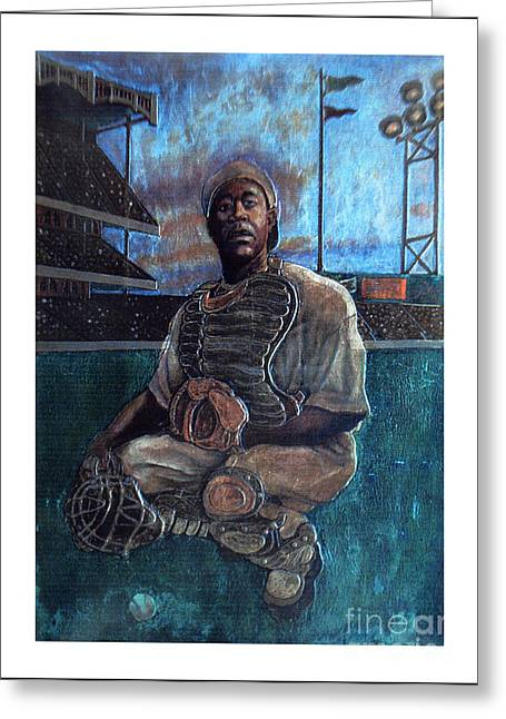 Negro Leagues Paintings Greeting Cards - Night Game Greeting Card by Anthony High