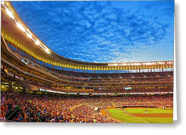 Great American Past Time Greeting Cards - Night Game at Target Field Greeting Card by Heidi Hermes