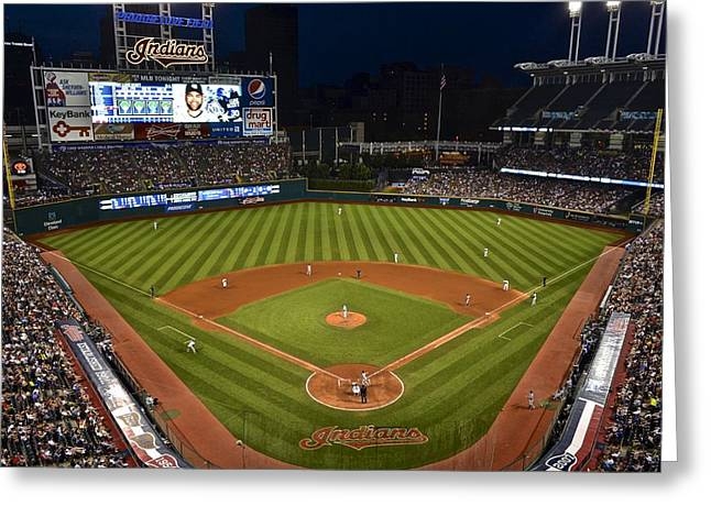 Progressive Field Greeting Cards - Night Game Greeting Card by Frozen in Time Fine Art Photography