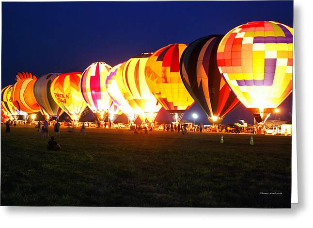 Thomas Woolworth Greeting Cards - Night Glow Hot Air Balloons Greeting Card by Thomas Woolworth