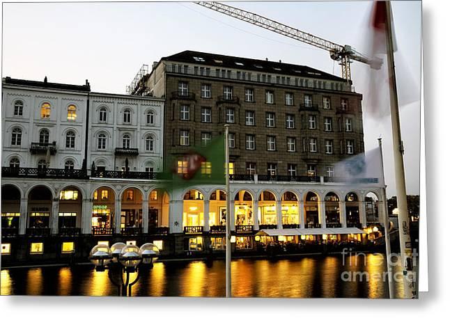 Night Shots Greeting Cards - Night Glow in Hamburg Greeting Card by John Rizzuto