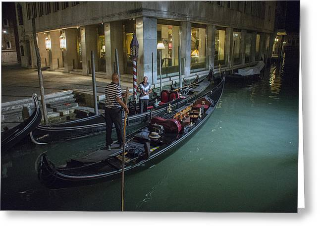 Gondolier Greeting Cards - Night Gondoliers Greeting Card by Wade Aiken
