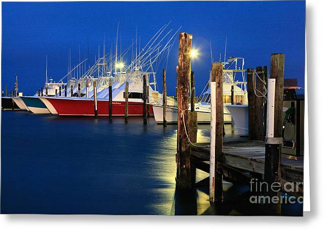 Oregon Artist Greeting Cards - Night Harbor I - Outer Banks Greeting Card by Dan Carmichael