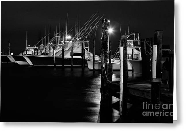 Oregon Artist Greeting Cards - Night Harbor II - Outer Banks Greeting Card by Dan Carmichael