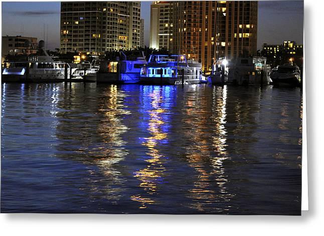 Night Harbor Sarasota Florida Greeting Card by Sally Rockefeller