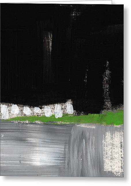 Night Horizon- Abstract Landscapeart Greeting Card by Linda Woods