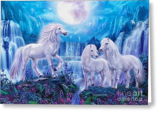 Extinct And Mythical Digital Art Greeting Cards - Night Horses Greeting Card by Jan Patrik Krasny