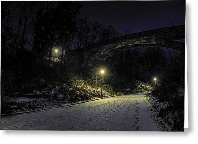 Winter Roads Greeting Cards - Night Hushed the Shadowy Earth Greeting Card by Scott Norris