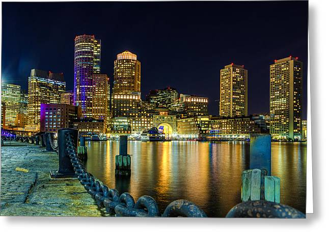 Boston Harbor Greeting Cards - Night in Boston Harbor Greeting Card by Paul Tomlin